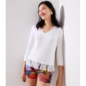 LOFT White Fringe V-Neck Long Sleeve Sweater